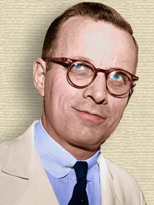 Photo of Lewis Thomas, head, facing forward, colorization by todayinsci