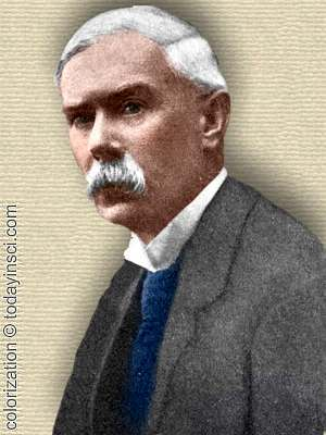 Photo of John Arthur Thomson - upper body - colorization © todayinsci.com