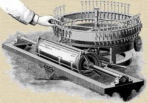 "Engraving from a magazine article showing the ""Machine For Printing"" invented by Charles Thurber"