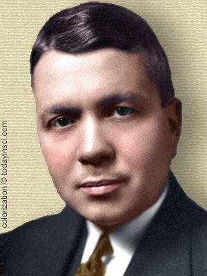 Photo of Harold Urey, head and shoulders, looking left. Colorization © todayinsci