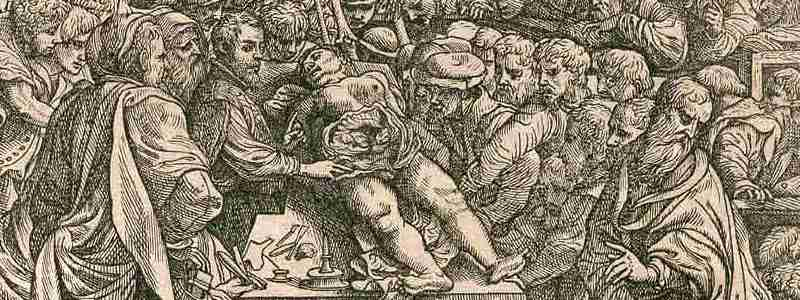 Woodcut showing lecture theater at Basil with Vesalius showing dissected abdomen of a cadaver on table, surrounded by students