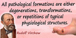 Rudolf Virchow quote: I definitely deny that any pathological process, i.e. any life-process taking place under unfavourable cir