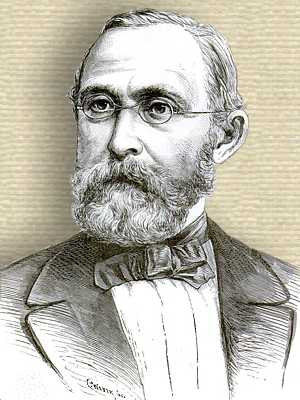 Engraving of Rudolf Virchow, head and shoulders, facing foreward
