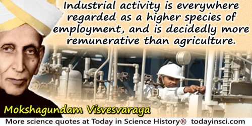 Mokshagundam Visvesvaraya quote: Industrial activity is everywhere regarded as a higher species of employment, and is decidedly