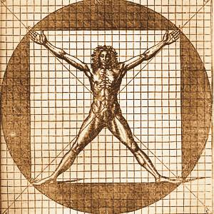Drawing of man with outspread limbs within a square border. Fingers and toes reach to the corners. Square inscribed in circle.