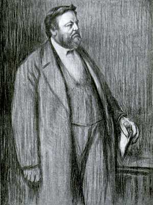 Drawing of Carl Vogt, full body, wearing long coat over suit, facing right