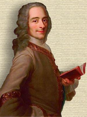 Portrait of Voltaire, upper body, facing forward, standing, holding open book