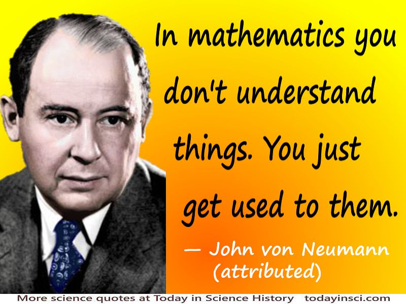 John von Neumann quote In mathematics you don't understand things.