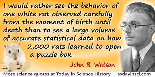 John B. Watson quote: I would rather see the behavior of one white rat observed carefully from the moment of birth until death t