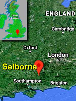 Google map of southern England with map pin showing Selborne very roughly equidistant to London, Southampton and Brighton.