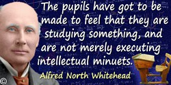 Alfred North Whitehead quote: The pupils have got to be made to feel that they are studying something, and are not merely execut