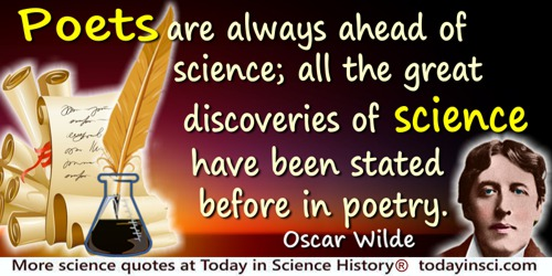 Oscar Wilde quote: Poets are always ahead of science; all the great discoveries of science have been stated before in poetry.
